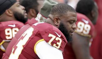 Washington Redskins defensive tackle Frank Kearse (73) sits on the bench during the first half of an NFL football game against the Tampa Bay Buccaneers in Landover, Md., Sunday, Nov. 16, 2014. (AP Photo/Mark Tenally)