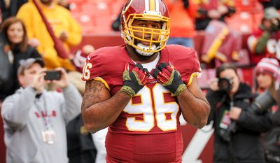 Washington Redskins nose tackle Barry Cofield (96), returning from injury, warms up before the Washington Redskins play the Tampa Bay Buccaneers in NFL football at FedExField, Landover, Md., Sunday, November 16, 2014. (Andrew Harnik/The Washington Times)