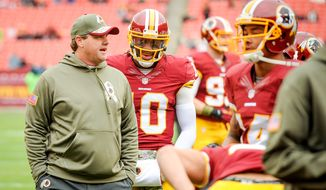 Washington Redskins head coach Jay Gruden, left, talks with Washington Redskins quarterback Robert Griffin III (10) during warmups before the Washington Redskins play the Tampa Bay Buccaneers in NFL football at FedExField, Landover, Md., Sunday, November 16, 2014. (Andrew Harnik/The Washington Times)