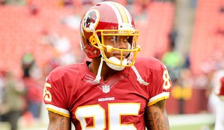 Washington Redskins wide receiver Leonard Hankerson (85), returning from injury, warms up as the Washington Redskins play the Tampa Bay Buccaneers in NFL football at FedExField, Landover, Md., Sunday, November 16, 2014. (Andrew Harnik/The Washington Times)