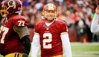Washington Redskins kicker Kai Forbath (2) walks off the field after missing his second field goal as the Washington Redskins play the Tampa Bay Buccaneers in NFL football at FedExField, Landover, Md., Sunday, November 16, 2014. (Andrew Harnik/The Washington Times)