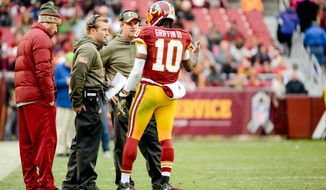 Washington Redskins quarterback Robert Griffin III (10) talks with Washington Redskins head coach Jay Gruden, second from right, and Washington Redskins offensive coordinator Sean McVay as the Washington Redskins play the Tampa Bay Buccaneers in NFL football at FedExField, Landover, Md., Sunday, November 16, 2014. (Andrew Harnik/The Washington Times)