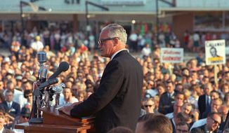 Sen. Barry Goldwater rallied a new conservative generation during his presidential campaign in 1964. Although he lost that contest, his landmark philosophies of conservatism still echo a half-century later. As Goldwater's son, Barry Goldwater Jr., reminds us, conservatives must present positive answers to national problems, not just condemn them. (Associated Press)