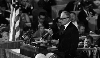 "Sen. Barry Goldwater accepts the Republican presidential nomination in San Francisco on July 16, 1964, with a blast at the Democrats and a promise that ""together we will win"" in the November election. (associated press photographs)"