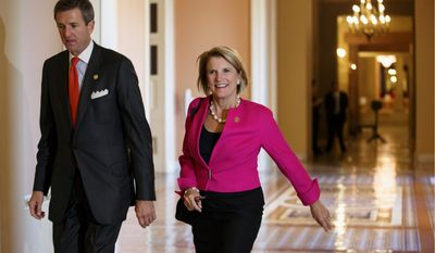 """Shelley Moore Capito, here with husband Charlie Capito, was one of the female Republicans who made history in a year when the Democrats' """"war on women"""" campaign fizzled. She is the first woman from West Virginia to be elected to the U.S. Senate. (Associated Press)"""