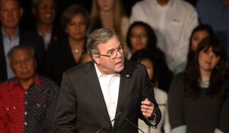 Former Florida Gov. Jeb Bush speaks during a voting rally for state Republican candidates, in Castle Rock, Colo., Wednesday, Oct. 29, 2014. Senate candidate Cory Gardner and gubernatorial candidate Bob Beauprez were among the candidates who joined Bush at the Douglas County Fairgrounds. (AP Photo/Brennan Linsley)