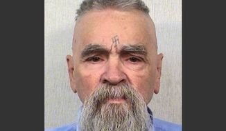 This Oct. 8, 2014, photo provided by the California Department of Corrections shows 80-year-old serial killer Charles Manson. (AP Photos/California Department of Corrections)