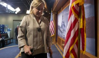 Sen. Mary Landrieu, D-La., chair of the Senate Energy and Natural Resources Committee, and the Keystone XL oil pipeline bill sponsor, turns from a news conference on Capitol Hill in Washington, Tuesday, Nov. 18, 2014. The U.S. Senate has rejected a proposal to fast-track the approval of the controversial Keystone XL pipeline. (AP Photo/Carolyn Kaster) ** FILE **