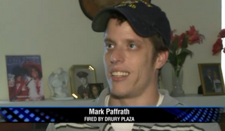 Mark Paffrath, a Navy veteran who worked at a hotel outside St. Louis, said he was fired from his job after posting pictures on Facebook that showed dozens of Homeland Security vehicles parked in the hotel's garage. (KTVI)