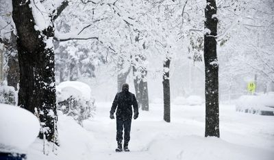A man walks down Coit Avenue in the wind and snow, Tuesday, Nov. 18, 2014 in Grand Rapids, Mich. (AP Photo/The Grand Rapids Press, Emily Rose Bennett) ALL LOCAL TELEVISION OUT; LOCAL TELEVISION INTERNET OUT