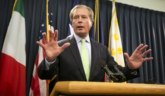 Outgoing Texas Lt. Gov. David Dewhurst gestures during a news conference at the Capitol in Austin, Texas, Wednesday. Nov. 19, 2014. Dewhurst said Wednesday that a mix of additional state troopers and technology will replace the Texas National Guard that deployed to the Rio Grande Valley this summer. State leaders want to spend an extra $86 million to keep an elevated presence on the border through August.   (AP Photo/Austin American-Statesman, Jay Janner)