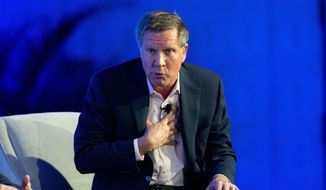 Ohio Gov. John Kasich talks about recent Republican party gains and the road ahead for his party during a press conference at the Republican governors' conference in Boca Raton, Fla., Wednesday, Nov. 19, 2014. The organization's annual conference began Wednesday in a luxury oceanside resort where the nation's Republican governors are celebrating their party's recent success in the midterm elections while privately jockeying for position as the 2016 presidential contest looms. (AP Photo/J Pat Carter)