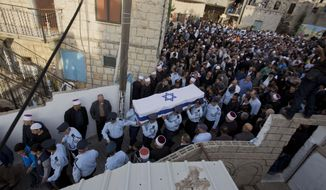Israeli police officers carry the flag draped coffin of Druze Israeli police officer Zidan Sif in the Druze village of Yanuh-Jat, northern Israel, Wednesday, Nov. 19, 2014. Sif, 30, died of his wounds on Tuesday after Two Palestinian cousins armed with meat cleavers and a gun stormed a Jerusalem synagogue during morning prayers Tuesday, killing four people in the city's bloodiest attack in years. Police killed the attackers in a shootout. (AP Photo/Ariel Schalit)