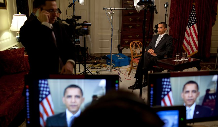 President  Obama conducts interviews in the  Map Room 3/30/09.  Official White House Photo by Pete Souza