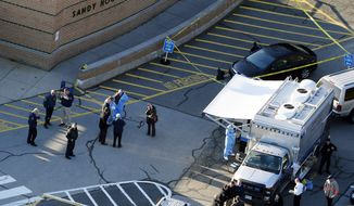 This Dec. 14, 2012, aerial file photo shows officials standing outside of Sandy Hook Elementary School in Newtown, Conn. (AP Photo/Julio Cortez, file)