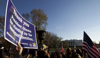 Supporters of immigration reform attend a rally in front of the White House in Washington, Friday, Nov. 21, 2014, thanking President Obama for his executive action on illegal immigration. (AP Photo/Jose Luis Magana)