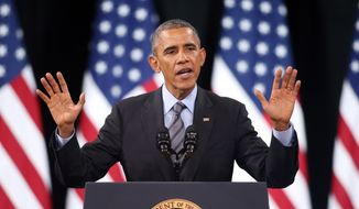 President Barack Obama delivers remarks on his executive action on immigration at Del Sol High School in Las Vegas in this Nov. 21, 2014, file photo. (AP Photo/Isaac Brekken, File)