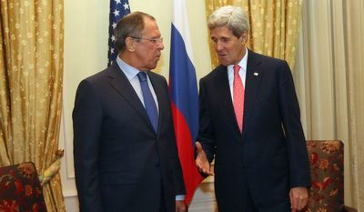 Russian Foreign Minister Sergey Lavrov and Secretary of State John F. Kerry held a bilateral meeting on the sidelines of the closed-door nuclear talks with Iran in Vienna on Sunday. (Associated Press)