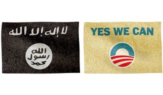 ISIS and Obama Flags Illustration by Greg Groesch/The Washington Times