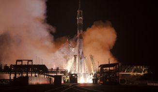 The Soyuz-FG rocket booster with Soyuz TMA-15M space ship carrying a new crew to the International Space Station, ISS, blasts off at the Russian leased Baikonur cosmodrome, Kazakhstan, Monday, Nov. 24, 2014. The Russian rocket carries U.S. astronaut Terry Virts, Russian cosmonaut Anton Shkaplerov and Italian astronaut Samantha Cristoforetti. (AP Photo/Dmitry Lovetsky)