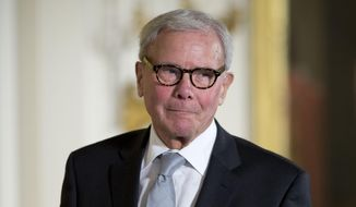 Journalist Tom Brokaw, is introduced before being awarded the Presidential Medal of Freedom, Monday, Nov. 24, 2014, during a ceremony in the East Room of the White House in Washington.  President Obama is presenting the nation's highest civilian honor to 19 artists, activists, public servants and others. (AP Photo/Pablo Martinez Monsivais) ** FILE **
