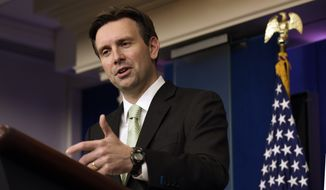 White House Press Secretary Josh Earnest speaks during the daily press briefing at the White House in Washington, Monday, Nov. 24, 2014. Earnest was asked several questions about the resignation of Defense Secretary Chuck Hagel. (AP Photo/Susan Walsh)
