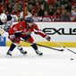 Capitals defenseman Mike Green sustained what the team is referring to as an upper-body injury in the Capitals' loss to Buffalo on Sunday. He'll be replaced by Jack Hillen. (Associated Press)