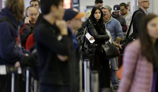 Travelers wait in lines to pass through security and get to their gates at LaGuardia Airport in New York, Tuesday, Nov. 25, 2014. A nor'easter was expected to develop along the East Coast just as millions of travelers head to their Thanksgiving destinations, bringing mostly rain close to the coast, but heavier snow further inland. (AP Photo/Seth Wenig)