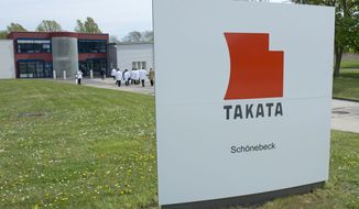 In this Thursday, April 17, 2014, file photo, journalists visit Takata Ignition Systems in Schoenebeck, Germany. U.S. safety regulators are threatening fines and legal action against Takata Corp. for failing to admit that its driver's-side air bag inflators are defective and should be recalled nationwide. The National Highway Traffic Safety Administration sent a letter to the company Wednesday, Nov. 26, 2014, detailing the threats, which include a public hearing and possible court action. (AP Photo/Jens Meyer, File)FILE -