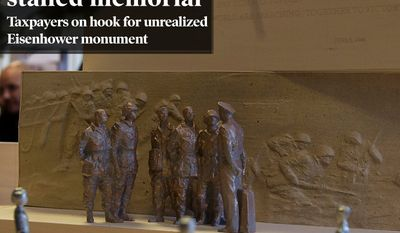 National Edition News cover for November 29, 2014 - $65M sunk into stalled memorial: A portion of a model of a memorial honoring Dwight D. Eisenhower is seen during a public meeting of the Eisenhower Memorial Commission on Capitol Hill in Washington, Wednesday, June 19, 2013, to discuss the continued controversy over Frank Gehry's design. Gehry is changing some elements of his design for a memorial honoring President Dwight D. Eisenhower in Washington as memorial planners move toward seeking approvals to build the project. (AP Photo/Carolyn Kaster)