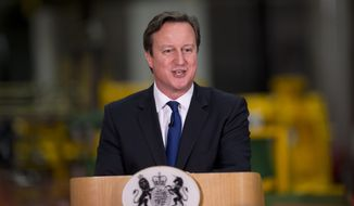 British Prime Minister David Cameron delivers a speech on immigration to factory workers and members of the media, at JCB World Headquarters in Rocester, central England, Friday, Nov. 28, 2014. Migrants from Europe will have to leave Britain if they don't get a job within six months, and must work for four years before receiving some benefits, Prime Minister David Cameron announced Friday, in a carefully balanced speech designed to defuse domestic criticism of his immigration policies while averting a showdown with the European Union. (AP Photo/Oli Scarff, Pool)