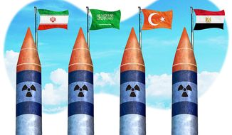Mideast Nuclear Missiles Illustration by Greg Groesch/The Washington Times