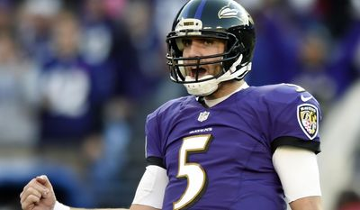Baltimore Ravens quarterback Joe Flacco reacts after wide receiver Torrey Smith scored a touchdown in the second half of an NFL football game against the San Diego Chargers, Sunday, Nov. 30, 2014, in Baltimore. (AP Photo/Gail Burton)