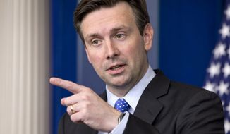 White House press secretary Josh Earnest speaks during his daily news briefing at the White House in Washington, Monday, Dec. 1, 2014, where he spoke about the president's schedule and answering questions on topics including Ferguson and the economy. (AP Photo/Jacquelyn Martin)