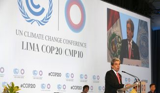 Peru's Minister of the Environment and new President of COP20, Manuel Pulgar-Vidal, talks during the opening ceremony of the Climate Change Conference in Lima, Peru, Monday, Dec. 1, 2014. Delegates from more than 190 countries will meet in Lima for the next two weeks to work on drafts for a global climate deal that is supposed to be adopted next year in Paris. (AP Photo/Martin Mejia)