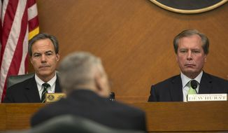 House Speaker Joe Straus, R- San Antonio, left, and Lt. Gov. David Dewhurst, R- Houston, right,  listen as Texas Department of Public Safety director, Major Steven McCraw testifies on border security before the Legislative Budget Board meeting held at the State Capitol in Austin, Texas, on Monday, Dec. 1, 2014.    (AP Photo/Austin American-Statesman, Rodolfo Gonzalez)  AUSTIN CHRONICLE OUT, COMMUNITY IMPACT OUT, INTERNET AND TV MUST CREDIT PHOTOGRAPHER AND STATESMAN.COM, MAGS OUT