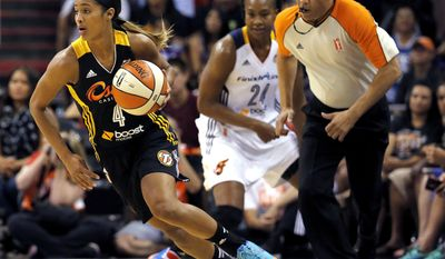 SKYLAR DIGGINS - BASKETBALLWest's Skylar Diggins (4), of the Tulsa Shock, pushes the ball up court as East's Tamika Catchings (24), of the Indiana Fever, looks on during the first half the WNBA All-Star basketball game, Saturday, July 19, 2014, in Phoenix. (AP Photo/Matt York)