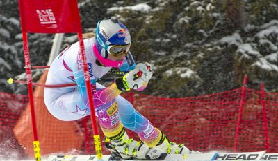 LINDSEY VONN - ALPINE SKIINGLindsey Vonn, of Vail, Colo., speeds past the 2015 World Championships ski racing gate at the U.S. Ski Team training center at Copper Mountain, Colo., on Wednesday, Nov. 6, 2013. (AP Photo/Nathan Bilow)