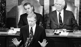 Then-President Jimmy Carter delivers his State of the Union message, Jan. 23, 1980. (AP Photo)