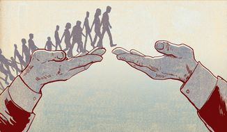 Illustration on Obama's immigration strategy by Paul Tong/Tribune Content Agency
