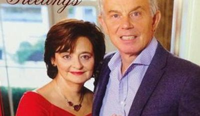 A photo of former Britain Prime Minister Tony Blair and wife Cherie's Christmas card is making the rounds on Twitter.