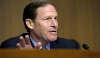 Sen. Richard Blumenthal, Connecticut Democrat, speaks on Capitol Hill in Washington on Feb. 27, 2013. (Associated Press) **FILE**