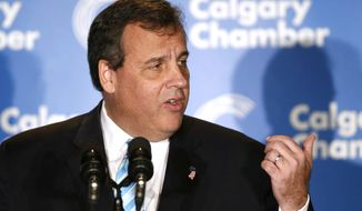 New Jersey Gov. Chris Christie speaks at the Energy Sector Luncheon in Calgary, Alberta on Thursday, Dec. 4, 2014. (AP Photo/The Canadian Press, Larry MacDougal)