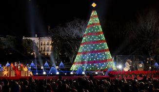 President Barack Obama and the first family stands,  right, after lighting the 2014 National Christmas Tree during the National Christmas Tree lighting ceremony at the Ellipse near the White House in Washington, Thursday, Dec. 4, 2014. (AP Photo/Carolyn Kaster)