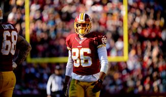 Washington Redskins tight end Jordan Reed (86) as the Washington Redskins play the St. Louis Rams in NFL football at FedExField, Landover, Md., Sunday, December 7, 2014. (Andrew Harnik/The Washington Times)