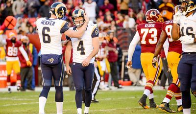St. Louis Rams kicker Greg Zuerlein (4) is comforted by St. Louis Rams punter Johnny Hekker (6) after he misses his second field goal as the Washington Redskins play the St. Louis Rams in NFL football at FedExField, Landover, Md., Sunday, December 7, 2014. St. Louis Rams kicker Greg Zuerlein (4) also missed an extra point in the first half. (Andrew Harnik/The Washington Times)
