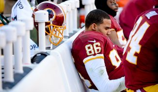 Washington Redskins tight end Jordan Reed (86) sits on the sideline late in the fourth quarter as the Washington Redskins play the St. Louis Rams in NFL football at FedExField, Landover, Md., Sunday, December 7, 2014. (Andrew Harnik/The Washington Times)