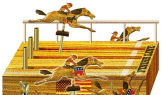 Illustration on the coming presidential race by Alexander Hunter/The Washington Times