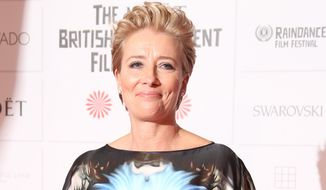 Actress Emma Thompson arrives for the British Independent Film Awards at Old Billingsgate Market in central London, Sunday, Dec. 7, 2014. (Photo by Joel Ryan/Invision/AP) ** FILE **