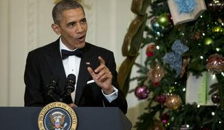 President Barack Obama speaks at a reception honoring the Kennedy Center Honorees in the East Room of the White House in Washington, Sunday, Dec. 7, 2014. (AP Photo/Manuel Balce Ceneta) **FILE**